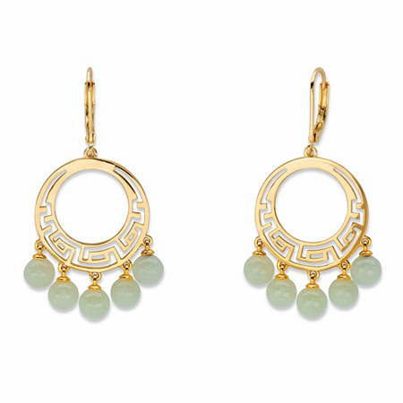 """Round Genuine Green Jade Circle Drop Beaded Fringe Earrings 14k Gold-Plated 1"""" at PalmBeach Jewelry"""