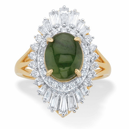 Oval-Cut Genuine Green Jade and Baguette-Cut Cubic Zirconia Ballerina Ring 1.57 TCW 14k Gold-Plated at PalmBeach Jewelry