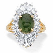 Oval-Cut Genuine Green Jade and Baguette-Cut Cubic Zirconia Ballerina Ring 1.57 TCW 14k Gold-Plated
