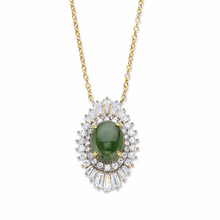 """Oval-Cut Genuine Green Jade and Baguette-Cut Cubic Zirconia Ballerina Pendant Necklace 1.57 TCW Gold-Plated 18"""" at PalmBeach Jewelry"""