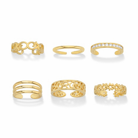 Round Crystal Floral and Filigree 6-Piece Adjustable Assorted Toe Ring Set in Goldtone at PalmBeach Jewelry