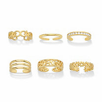 Round Crystal Floral and Filigree 6-Piece Adjustable Assorted Toe Ring Set in Goldtone