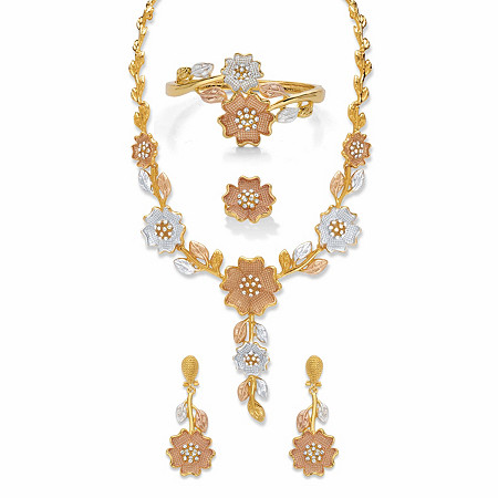 "Round Crystal Tri-Tone 3-Piece Floral Necklace Set with BONUS FREE Ring in Goldtone, SIlvertone and Rosetone 17"" at PalmBeach Jewelry"