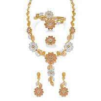 Round Crystal Tri-Tone 3-Piece Floral Necklace Set with BONUS FREE Ring in Goldtone, SIlvertone and Rosetone 17""