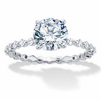 Round Cubic Zirconia Banded Engagement Ring 2.63 TCW in Platinum over Sterling Silver