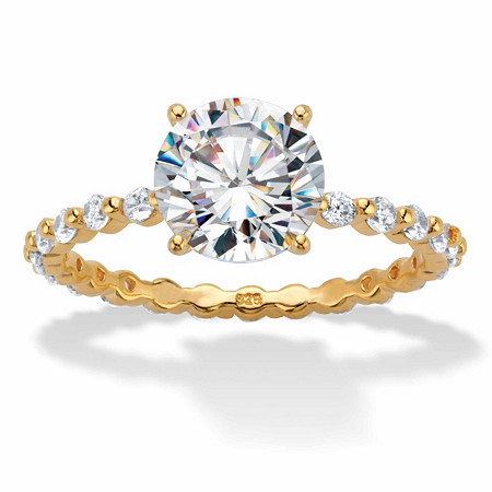 Round Cubic Zirconia Two-Tone Banded Eternity Engagement Ring 2.63 TCW in 18k Gold over Sterling Silver at PalmBeach Jewelry
