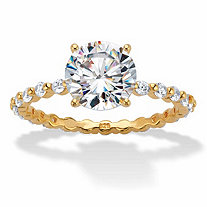 Round Cubic Zirconia Two-Tone Banded Eternity Engagement Ring 2.63 TCW in 18k Gold over Sterling Silver