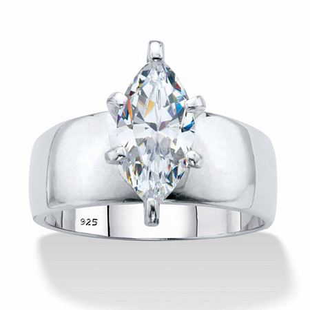 Marquise-Cut Cubic Zirconia Solitaire Engagement Ring 2.48 TCW in Platinum over Sterling Silver at PalmBeach Jewelry