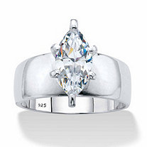 Marquise-Cut Cubic Zirconia Solitaire Engagement Ring 2.48 TCW in Platinum over Sterling Silver