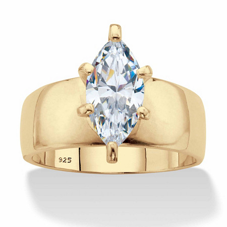 Marquise-Cut Cubic Zirconia Solitaire Engagement Ring 2.48 TCW in 18k Gold over Sterling Silver at PalmBeach Jewelry