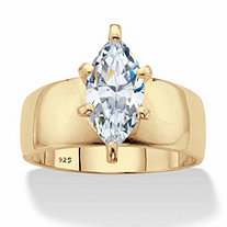 Marquise-Cut Cubic Zirconia Solitaire Engagement Ring 2.48 TCW in 18k Gold over Sterling Silver