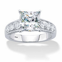 Princess-Cut and Round Cubic Zirconia Channel-Set Engagement Ring 3.04 TCW in Platinum over Sterling Silver