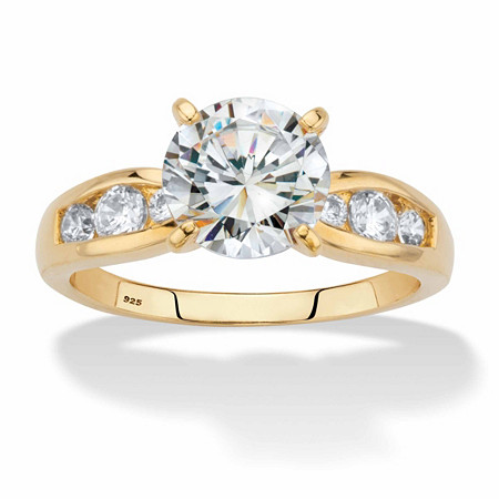 Round Cubic Zirconia Channel-Set Engagement Ring 2.37 TCW in 14k Gold over Sterling Silver at PalmBeach Jewelry