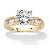 Round Cubic Zirconia Channel-Set Engagement Ring 2.37 TCW in 14k Gold over Sterling Silver