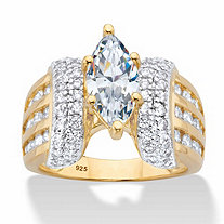 Marquise-Cut and Round Cubic Zirconia Triple-Row Engagement Ring 3.14 TCW in 18k Gold over Sterling Silver