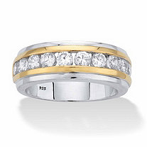 Men's Round Cubic Zirconia Two-Tone Ring 1.10 TCW in 18k Gold and Platinum over Sterling Silver