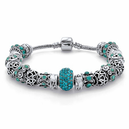 "Round Aqua Blue Crystal Antiqued Bali-Style Beaded Charm Bracelet in Silvertone 7.5"" at PalmBeach Jewelry"