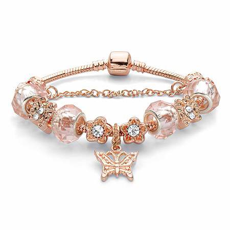 """Pink Crystal Bali-Style Beaded Flower and Butterfly Charm Bracelet 14k Rose Gold-Plated 7.25"""" at PalmBeach Jewelry"""