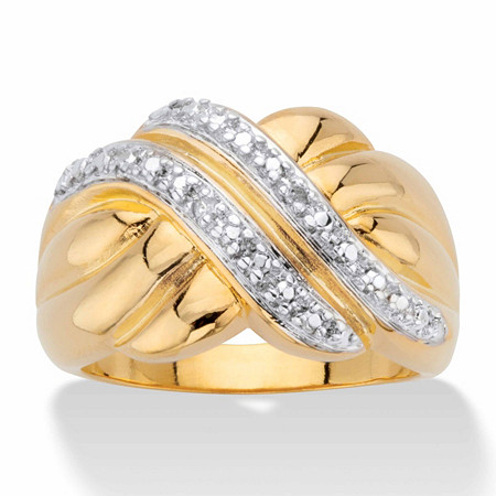 Diamond Accent Two-Tone Diagonal Crossover Ring 14k Gold-Plated at PalmBeach Jewelry