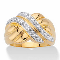 Diamond Accent Two-Tone Diagonal Crossover Ring 14k Gold-Plated