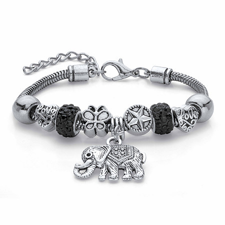 "Round Black Crystal Half Beaded Bali-Style Elephant Charm Bracelet in Antiqued Silvertone 7.25"" at PalmBeach Jewelry"