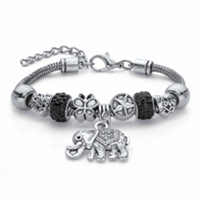 Round Black Crystal Half Beaded Bali-Style Elephant Charm Bracelet in Antiqued Silvertone 7.25