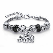 Round Black Crystal Half Beaded Bali-Style Elephant Charm Bracelet in Antiqued Silvertone 7.25""