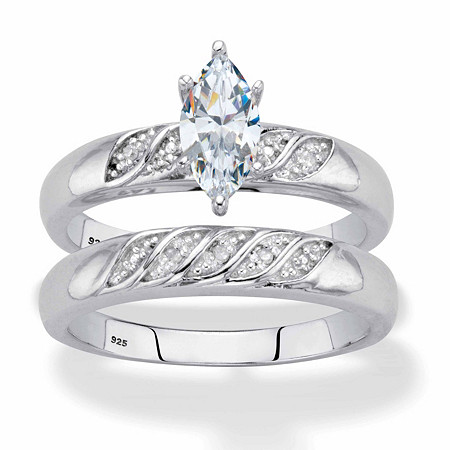 Marquise-Cut Cubic Zirconia and Diamond Accent 2-Piece Diagonal Bridal Ring Set .74 TCW in Platinum over Sterling Silver at PalmBeach Jewelry