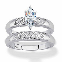 SETA JEWELRY Marquise-Cut Cubic Zirconia and Diamond Accent 2-Piece Diagonal Bridal Ring Set .74 TCW in Platinum over Sterling Silver