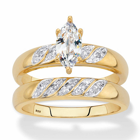 Marquise-Cut Cubic Zirconia and Diamond Accent 2-Piece Diagonal Bridal Ring Set .74 TCW in 18k Gold over Sterling Silver at PalmBeach Jewelry