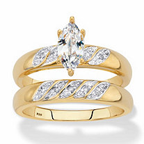 SETA JEWELRY Marquise-Cut Cubic Zirconia and Diamond Accent 2-Piece Diagonal Bridal Ring Set .74 TCW in 18k Gold over Sterling Silver