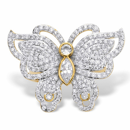 Marquise-Cut and Round Cubic Zirconia Butterfly Cocktail Ring 2.11 TCW Gold-Plated at PalmBeach Jewelry