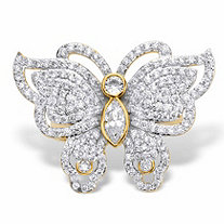 Marquise-Cut and Round Cubic Zirconia Butterfly Cocktail Ring 2.11 TCW 14k Gold-Plated