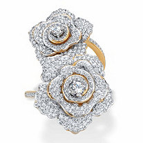 Round Cubic Zirconia Rose Flower Cocktail Wrap Ring 2.81 TCW 14k Gold-Plated