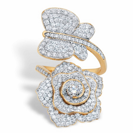 Round Cubic Zirconia Rose and Butterfly Wrap Cocktail Ring 1.92 TCW Gold-Plated at PalmBeach Jewelry