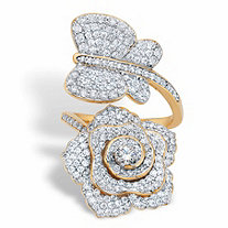 Round Cubic Zirconia Rose and Butterfly Wrap Cocktail Ring 1.92 TCW 14k Gold-Plated