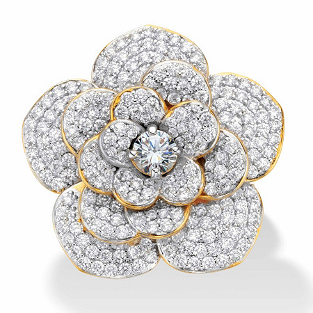 Round Cubic Zirconia Rose Flower Cocktail Ring 3.58 TCW Gold-Plated at PalmBeach Jewelry
