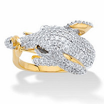 Round Cubic Zirconia Elephant Cocktail Ring 3.02 TCW 14k Gold-Plated
