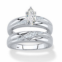 Marquise-Cut Cubic Zirconia and Diamond Accent 2-Piece Diagonal Bridal Ring Set .74 TCW in Platinum over Sterling Silver