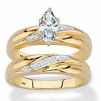 Marquise-Cut Cubic Zirconia and Diamond Accent 2-Piece Diagonal Bridal Ring Set .74 TCW in 18k Gold over Sterling Silver