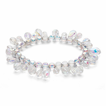 """Round and Pear-Cut Aurora Borealis Crystal Stretch Bracelet in Silvertone 7"""" at PalmBeach Jewelry"""