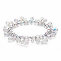 Round and Pear-Cut Aurora Borealis Crystal Stretch Bracelet in Silvertone 7