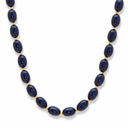 """Oval Midnight Blue Cabochon Lucite Bead Single Strand Necklace in Goldtone 23"""" at PalmBeach Jewelry"""