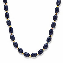 Oval Midnight Blue Cabochon Lucite Bead Single Strand Necklace in Goldtone 23