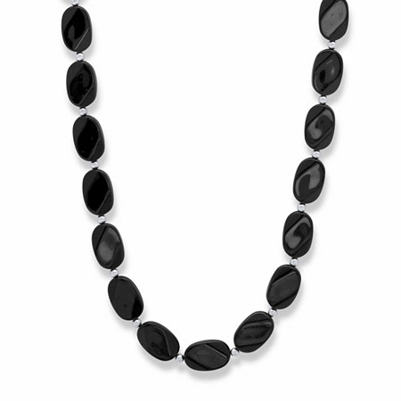 """Oval Black Cabochon Lucite Bead Strand Necklace in Silvertone 28"""" at PalmBeach Jewelry"""