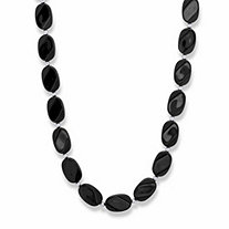 SETA JEWELRY Oval Black Cabochon Lucite Bead Strand Necklace in Silvertone 28