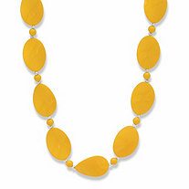 Yellow Mod-Style Lucite Cabochon Beaded Strand Necklace in Silvertone 28