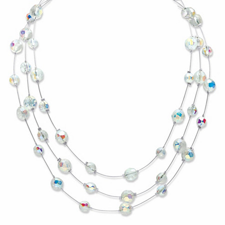 """Round Aurora Borealis Crystal Triple-Strand Station Necklace in Silvertone 16""""-19"""" at PalmBeach Jewelry"""
