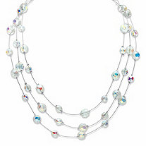 Round Aurora Borealis Crystal Triple-Strand Station Necklace in Silvertone 16