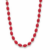 Oval Red Cabochon Lucite Beaded Single Strand Necklace in Goldtone 23""